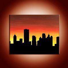 Easy Canvas Art, Mini Canvas Art, City Painting, Acrylic Painting Canvas, Cityscape Drawing, Art Painting Gallery, Silhouette Painting, Guache, Sky Art