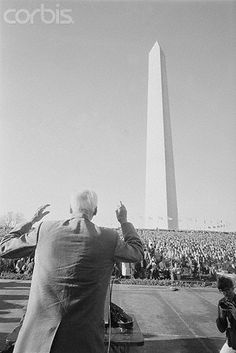 """U1496826      30 Nov 1965, Washington, DC, USA --- Socialist Addresses mass. Washington, D.C.: Norman Thomas, 81 year old patriarch of the U.S. Socialist movement, addresses a throng of demonstrators who came to Washington to protest U.S. military policy in Vietnam. The crowd roared its approval as Norman condemned """"the immoral and stupid war in Vietnam."""" --- Image by © Bettmann/CORBIS"""