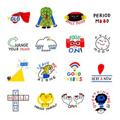 Snapchat Stickers, UK on Behance Cute Illustration, Graphic Design Illustration, Branding Design, Logo Design, Icon Design, Snapchat Stickers, Poster S, Planner, Grafik Design