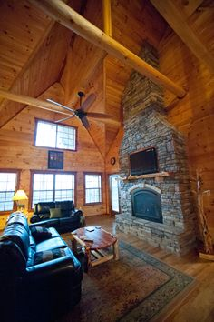 Living room on the main floor of the Lake House Cabin in Broken Bow.