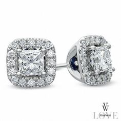 #Zales - #Zales Vera Wang Love Collection 3/4 CT. T.w. Princess-Cut Diamond Frame Stud Earrings in 14K White Gold - AdoreWe.com