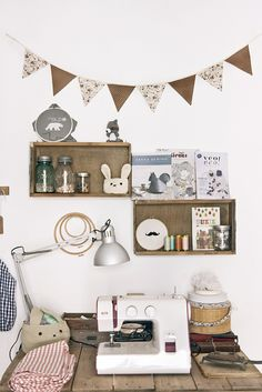 Lovely craft room with bunting