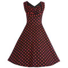 Ophelia Black Polka Dot Swing Dress | Vintage Style Dresses -Lindy Bop