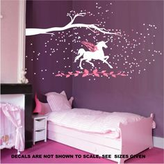UNICORN FANTASY GIRLS BEDROOM WALL ART STICKER VINYL DECAL VARIOUS SIZES