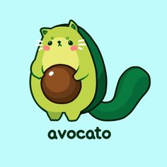avocato // cat puns 2 by moonbeani on DeviantArt Cute Food Drawings, Cute Animal Drawings Kawaii, Cute Cat Drawing, Funny Drawings, Cute Kawaii Animals, Kawaii Wallpaper, Wallpaper Iphone Cute, Funny Food Puns, Cat Puns