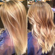 Balayage ombré.  Neutral base melting into a bright bold blonde