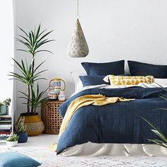 Home Republic - Kacher Quilt Cover Set Navy Blue Bedding, Navy Blue Bedrooms, Blue Master Bedroom, Blue Duvet, Bedroom Sets, Navy Quilt, Master Bedrooms, Target Home Decor, Cheap Home Decor