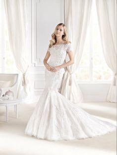 #Vestido de #novia con corte sirena, de encaje, manga corta y hombros caídos. Modelo IDALINA. chantu.es