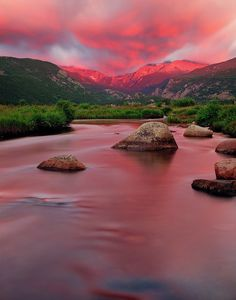 Pink sunrise in the valley