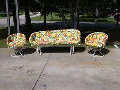 Mid Century Vintage Homecrest Patio Lawn Furniture Chairs Glider Sofa  Cushions