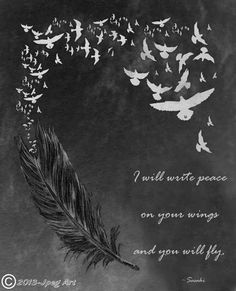 Feather And Birds Artwork With Quote by JpegArt on Etsy, $1.99