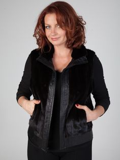 Fur Vest with Leather Border and Zipper