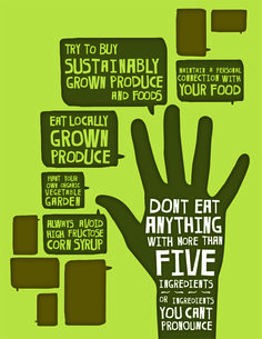 Designer Adam Wirdak's poster illustrating a few of Michael Pollan's food rules. Wirdak sent it to First Lady Michelle Obama to alert her to the state of the food system and its impact on the health of Americans.