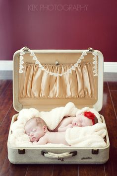Have to try this! I have the perfect suitcase :) Newborn twins in suitcase