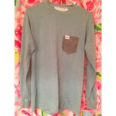 """The Frat Collection Chevron Pocket Long Sleeve Size small, long sleeve """"marlin"""" (dark teal), shirt with black chevron print on the pocket! Worn a few times, only wash my shirts in cold water and let hang dry! The Frat Collection Tops"""