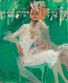 Au Derby d'Epsom (The Epsom Derby) by Jean-Gabriel Domergue (French 1889-1962)
