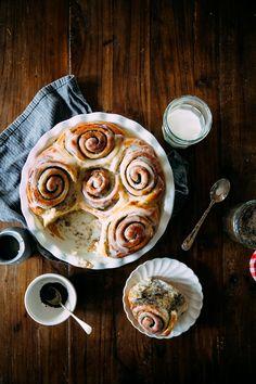 Hummingbird High - A Desserts and Baking Food Blog in Portland, Oregon: Overnight Black Sesame Buttermilk Rolls with Goat Milk Glaze