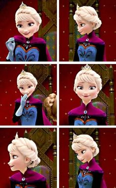 Elsa- The many happy facial expressions when she is at the ball watching Anna and hanging out with Anna!