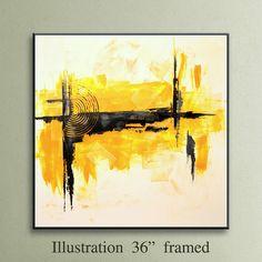 36 Yellow Gray Black Original Square Abstract by EditVorosArt