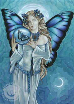 jessica galbreth shades-of-blue fairy watercolor original art painting fantasy