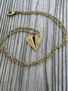 3D Bronze Paper Airplane Necklace by ZenLunaticNYC on Etsy