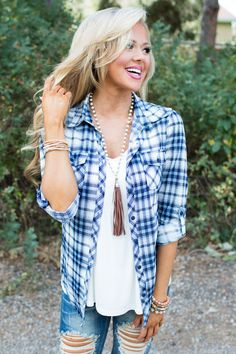 It's The Simple Things Plaid Top Blue CLEARANCE - Modern Vintage Boutique
