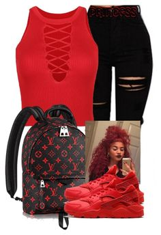 """""""Red & Black"""" by lovetayla ❤ liked on Polyvore featuring WithChic and NIKE"""