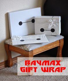 Super simple Big Hero 6 Baymax gift wrap!