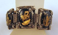 Vintage Asian Reverse Intaglio Black Glass by GrapenutGlitzJewelry, $46.00