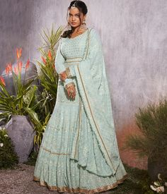 """LASHKARAA on Instagram: """"Beautiful soft minty georgette is adorned with beautiful lucknowi thread work, sequins & golden zari work all over from the flare to the…"""" Indian Anarkali, Long Anarkali, Anarkali Gown, Anarkali Suits, Saree, Floor Length Anarkali, Designer Anarkali Dresses, Thread Work, International Fashion"""