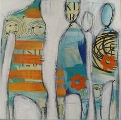 """Coming Together"", 40x40cm www.facebook.com/eland.billedkunst"