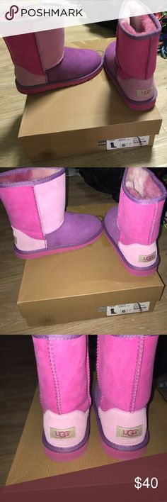 Pink magenta and purple color block ugg boots These are a 4 in big girls which is a 5.5 or 6 in women UGG Shoes Boots