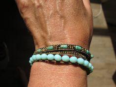 bracelet cuir et perles tissées trois tours : Bracelet par junchiddu