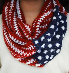 Crochet Scarf Show Your Stripes American Flag Circle Scarf by StitchForAStitch - Crochet Scarves, Crochet Shawl, Crochet Yarn, Crochet Clothes, Free Crochet, Yarn Projects, Crochet Projects, Knitting Patterns, Crochet Patterns