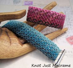 Beautiful work here. Two micro macrame bracelets by Sherri Stokey of Knot Just Macrame