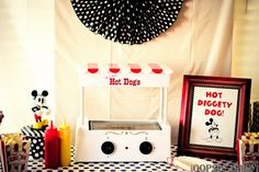 Mickey Mouse Birthday Party - I love almost everything about this party! Hot Diggity Dog Hot Dogs, pendant banners & so much more!