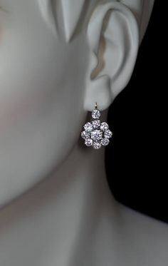 Antique 6 Ct Old European Cut Diamond Cluster Earrings - Antique Jewelry | Vintage Rings | Faberge Eggs