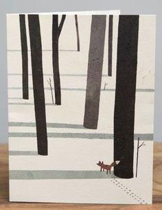 Fox en la nieve | Tarjetas rojas Cap