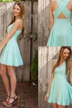 Charming Chiffon V-neck Short Prom Dress, Homecoming Dress