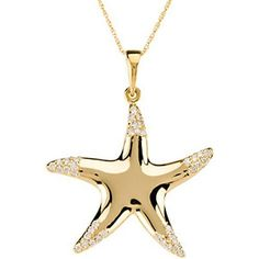 14K Yellow Gold Diamond Starfish Necklace
