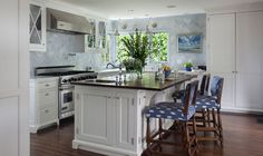 Beautiful kitchen design by Amy Meier Design  I love the tile and the bar stools