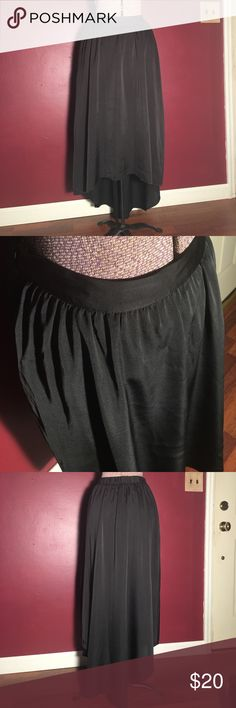 LC Lauren Conrad High-Low black skirt small Excellent used condition Lauren Conrad high-low skirt. The front band is solid and in the back it has more of an elastic material. Also has a short liner underneath. Only wore this one time. No material tag unfortunately. LC Lauren Conrad Skirts High Low