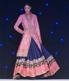 manish malhotra pink blue gold sherwani lengha indian wedding by imogene Mode Bollywood, Bollywood Fashion, Lehenga Designs, Indian Fashion Trends, Asian Fashion, Indian Attire, Indian Ethnic Wear, Patiala Salwar, Anarkali
