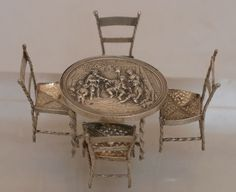 SPLENDID OLD DUTCH SILVER MINIATURE CHAIRS AND TABLE