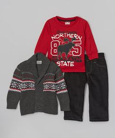 Another great find on #zulily! Gray & Red Cardigan Set - Infant by Little Rebels #zulilyfinds