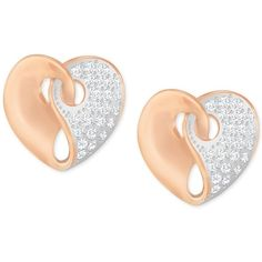 Swarovski Two-Tone Pave Heart Earrings (786.055 IDR) ❤ liked on Polyvore featuring jewelry, earrings, rose gold, heart jewelry, swarovski jewelry, rose gold tone jewelry, rose gold tone earrings and swarovski earrings