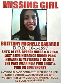 Missing Persons of America Brittany Navarro: Missing teen from New Jersey