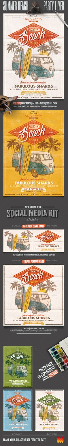 "Buy Summer Beach Party Flyer/Poster by moodboy on GraphicRiver. ""Summer Beach party Flyer/Poster"" – This flyer/poster was designed to promote music event, such as a gig, concert, f. Summer Beach Party, Beach Bbq, Summer Sunset, Vintage Beach Party, Vintage Surf, Retro Vintage, Flyer Design, Event Design, California Beach Camping"