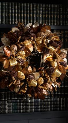 "28"" Chocolate and Gold Christmas Wreath.  This wreath is stunning.  LOVE it!"