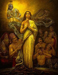 "Draupadi prays to Krishna: ""Krishna!"" she cried. ""O Govinda! O Keshava! Krishna Leela, Krishna Radha, Krishna Love, Srila Prabhupada, Indian Art Paintings, Ravivarma Paintings, Lord Krishna Images, Krishna Painting, India Art"